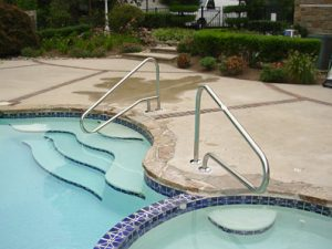Pool handrails installed