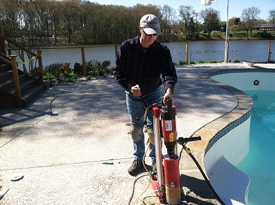 Diamond core drilling for inground pools in delaware area - Removable swimming pool handrails ...